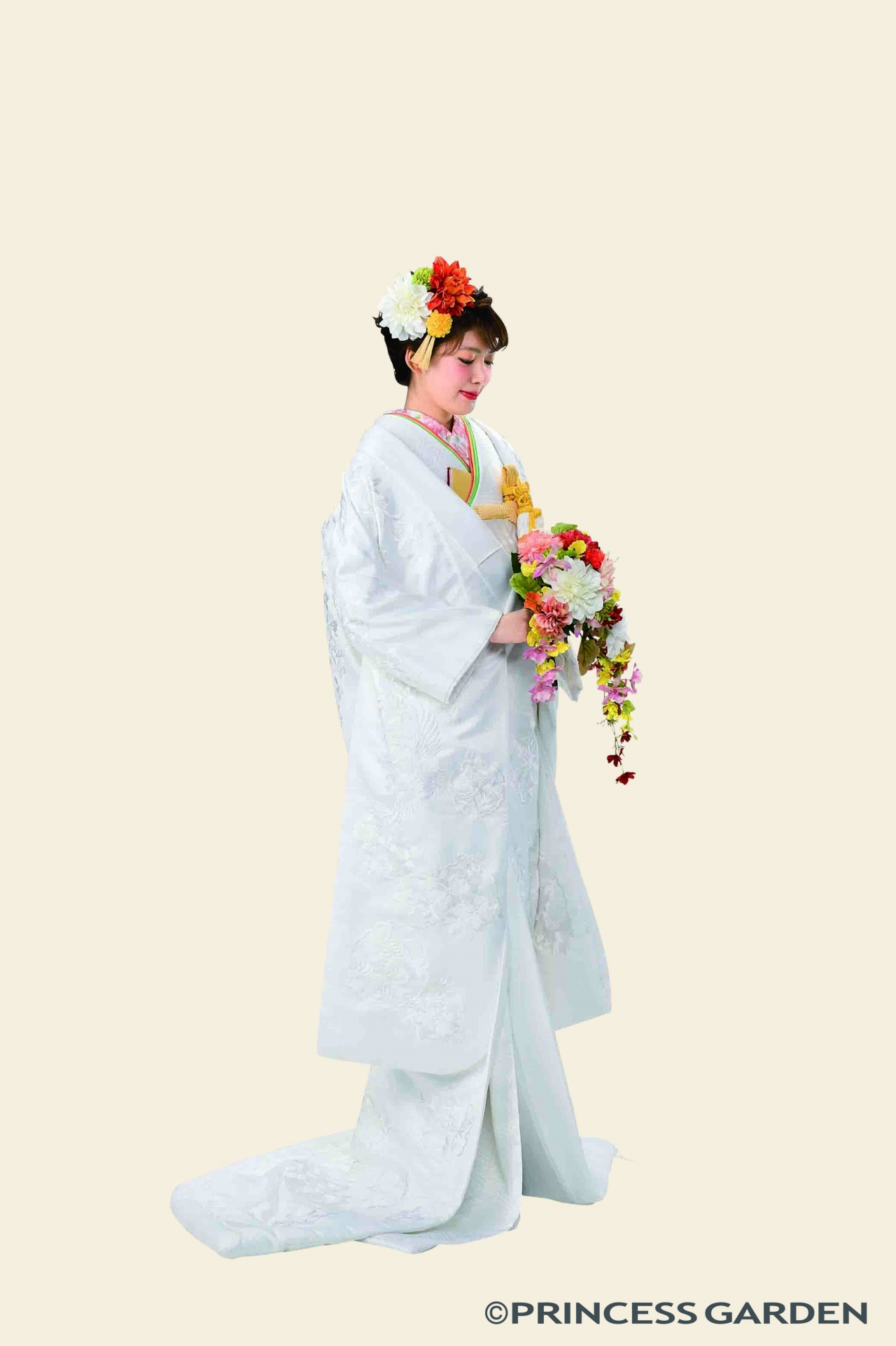 白無垢/鶴 しだれ桜 花の丸紋